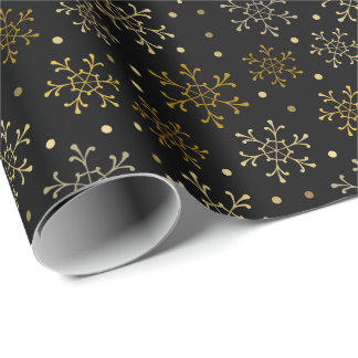 Gold Snowflakes on Black Night Background Wrapping Paper