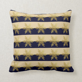 Gold Snowflakes on Midnight Blue Striped Pillow