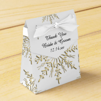 Gold Snowflakes on White Winter Wedding Favour Box