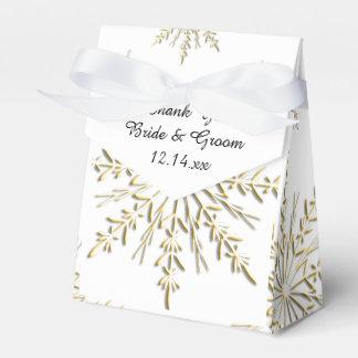 Gold Snowflakes on White Winter Wedding Party Favour Box