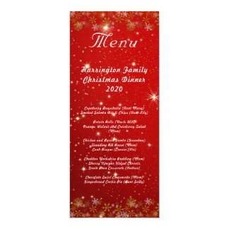 Gold Snowflakes Red Christmas Dinner Menu Card