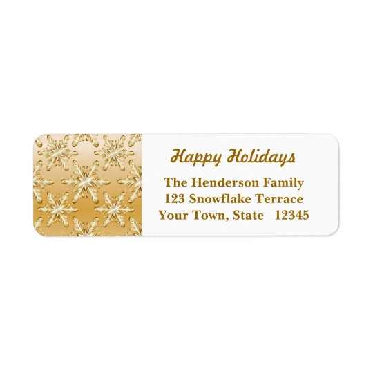 Gold Snowflakes Return Address Label