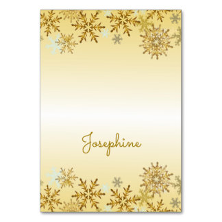 Gold Snowflakes Tented Christmas Place Cards