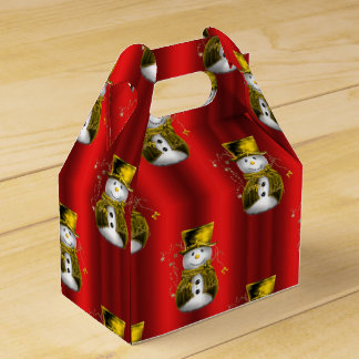 Gold Snowman on Red Favour Box