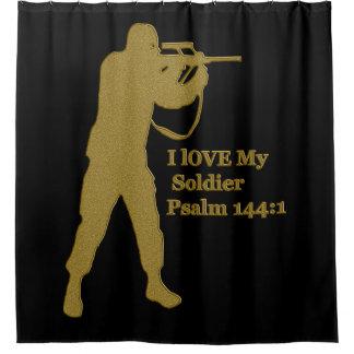 Gold solder snipper shower curtain