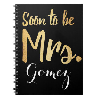gold soon to be mrs bride notebook