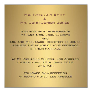 Gold sophisticated  Wedding Invitation Template
