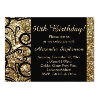 Gold Sparkle 50th Birthday Party Swirl 11 Cm X 16 Cm Invitation Card