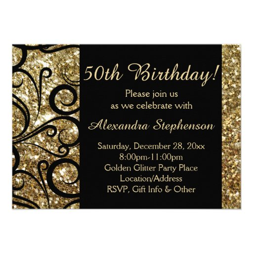 Gold Sparkle 50th Birthday Party Swirl Personalized Announcement