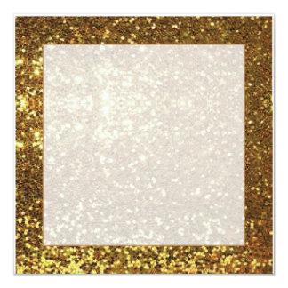 Gold sparkle background square invitation