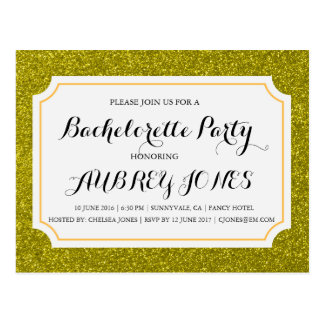 Gold Sparkle Bling Bachelorette Party Invitation Postcard