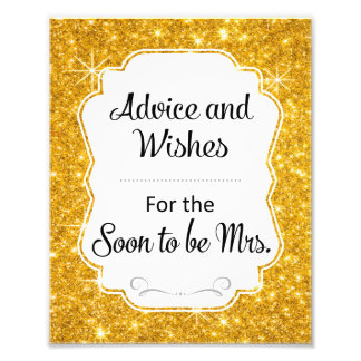 Gold Sparkle Bridal Shower Advice and Wishes Sign Photo Art