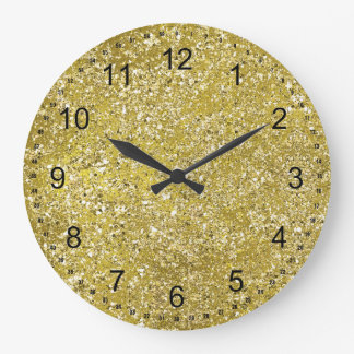 Gold Sparkle Chic Faux Glitter Large Clock