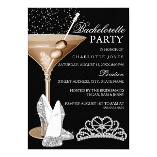 Gold Sparkle Cocktail Bachelorette Party 13 Cm X 18 Cm Invitation Card