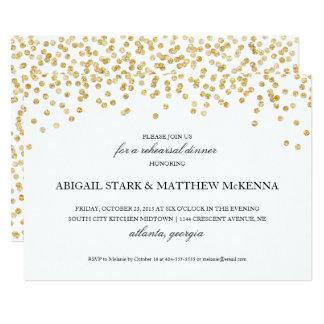 Gold Sparkle Confetti Rehearsal Dinner Invitation2 Card