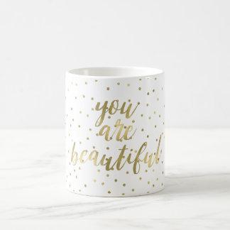Gold Sparkle Confetti You are Beautiful Coffee Mug