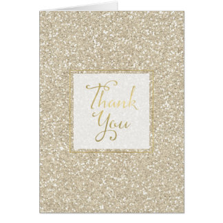Gold Sparkle Faux Glitter Thank you Card
