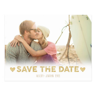 Gold Sparkle Hearts Save the Date Postcard