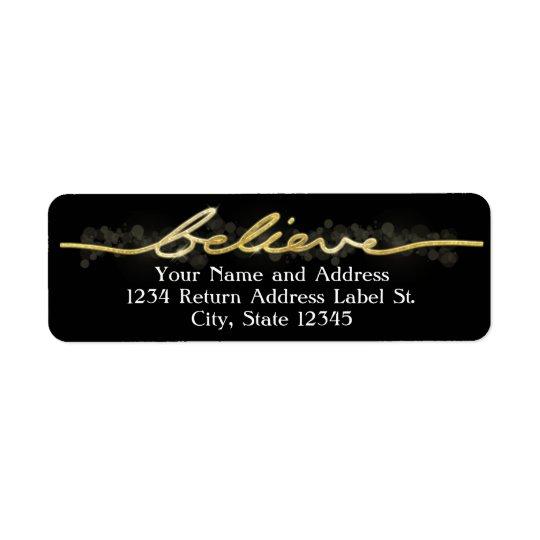 Gold Sparkle Look Bokeh Believe Christmas Return Address Label