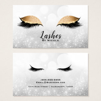 Gold Sparkle Makeup Glam Eyelashes Lashes Silver Business Card