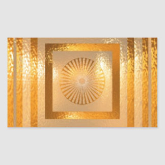 GOLD Sparkle MANDALA -  Chinese Oriental ART Gifts Rectangle Sticker