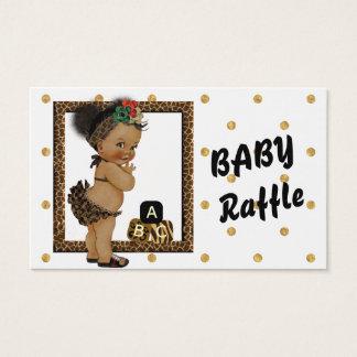 Gold Sparkle Polka Dot Diaper Raffle Business Card