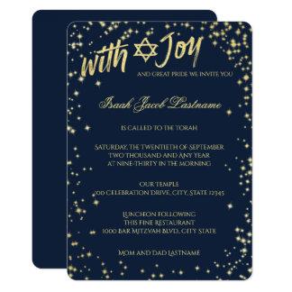 Gold Sparkle Sky Navy Blue Bar Mitzvah Card