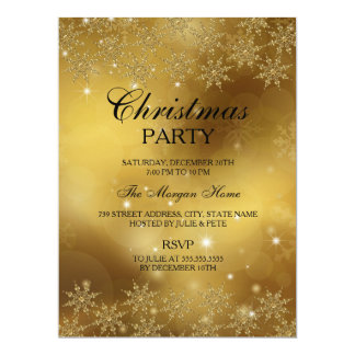 Gold Sparkle Snowflake Christmas Holiday Invite