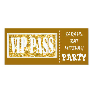 Gold sparkle VIP Bat Mitzvah party 10 Cm X 24 Cm Invitation Card