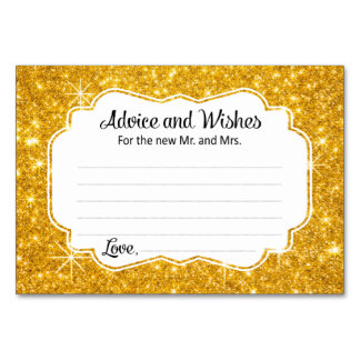 Gold Sparkle Wedding Advice and Wishes Cards