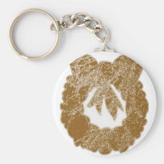Gold Sparkle Wreath by Navin Key Chain