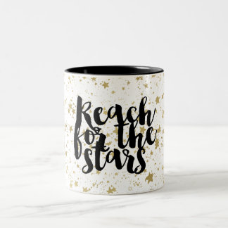 Gold Sparkling Stars Two-Tone Coffee Mug