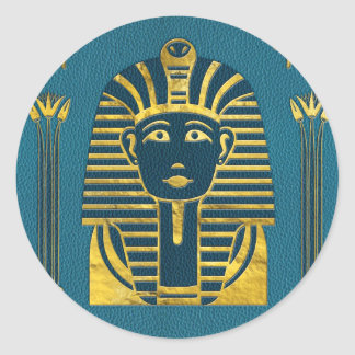 Gold Sphinx head with Egyptian hieroglyphs on blue Classic Round Sticker