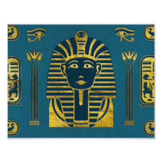 Gold Sphinx head with Egyptian hieroglyphs on blue Poster