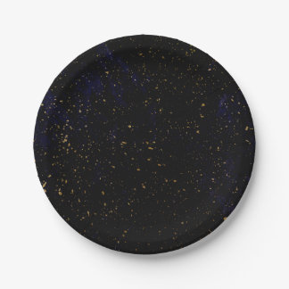 Gold Splatter Modern Chic Purple Blue Cosmic Party Paper Plate