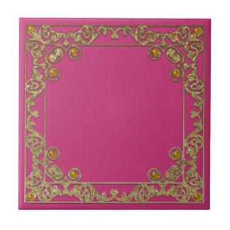 Gold square glittery border ceramic tile