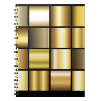Gold Square Pattern Print Collage Notebooks