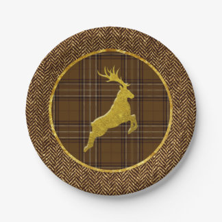 Gold Stag Plaid and Herringbone 7 Inch Paper Plate