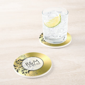 Gold Stainless Steel Look Black Lace Accent Coaster