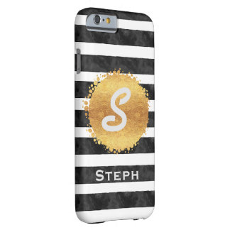 Gold Stamp Stripes Monogram Initial Barely There iPhone 6 Case