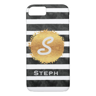 Gold Stamp Stripes Monogram Initial iPhone 7 Case