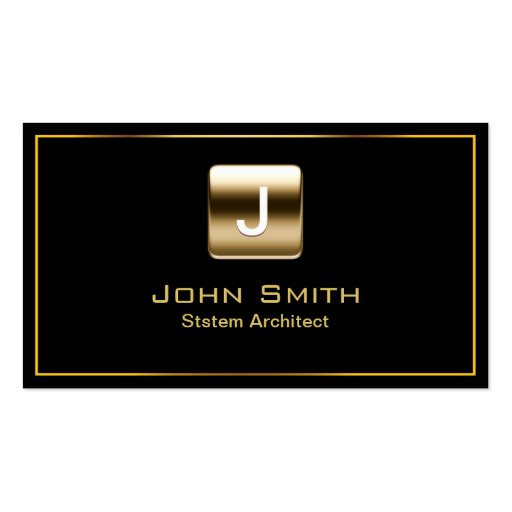 Gold Stamp System Architect Dark Business Card