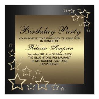 Gold Star Birthday Invitation