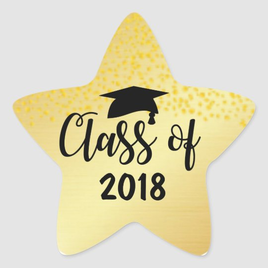 Gold Star Class of 2018 Custom Graduation Sticker