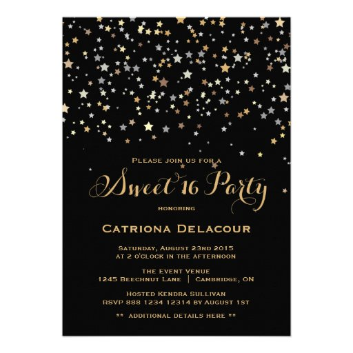 Gold Star Confetti Sweet Sixteen Party Invitation