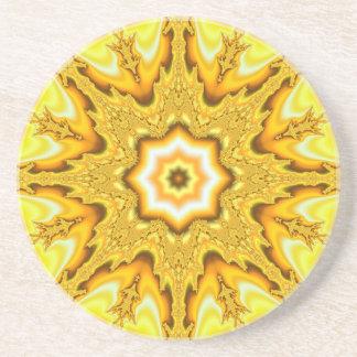 Gold Star Fractal Sandstone Coaster