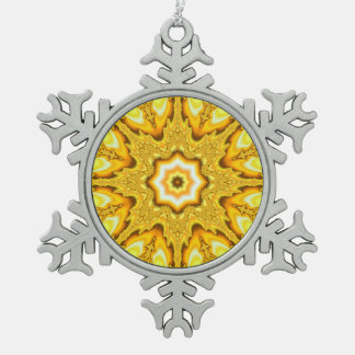 Gold Star Fractal Snowflake Ornament