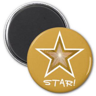 """Gold"" Star fridge 'STAR!' magnet round gold"