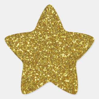 Gold Star in Gold Glitter Texture Star Sticker