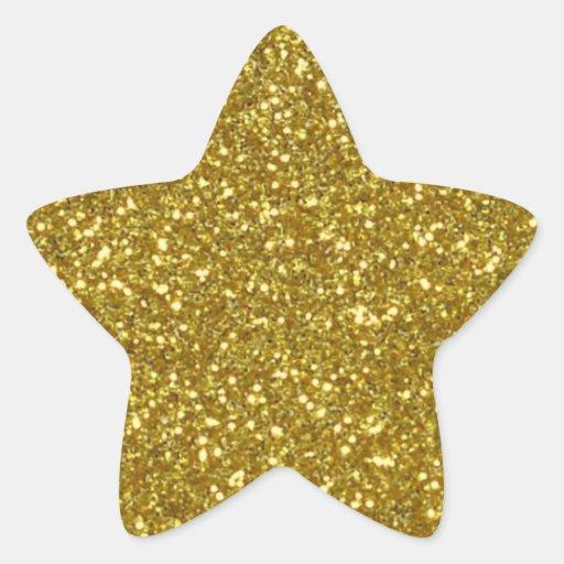 gold star in gold glitter texture star sticker zazzle